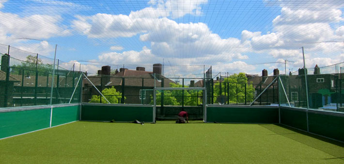 Rooftop mini soccer at the Oval, London, UK